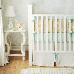 In Harmony Baby Girls Crib Bedding from New Arrivals Inc    LOVE the fun coral and teal print (could go nice in brother's room) and the CLEAN white and teal.  LOVE, LOVE, LOVE!!!