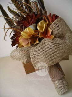 Fall Silk Pheasant Feather Daisy, Hydrangea Wedding Bouquet with Burlap Grasses in Rust, Brown & Gold but would look great for a safari wedding. Safari Wedding, Hunting Wedding, Chic Wedding, Floral Wedding, Fall Wedding, Our Wedding, Dream Wedding, Wedding Ideas, Gold Bouquet