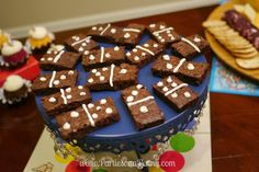 Board Game Themed Birthday Party - Domino Brownies ~www.PartiesonaPenny.com