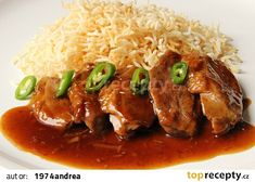 Kachní prsa se zázvorovo - pomerančovou omáčkou recept - TopRecepty.cz No Salt Recipes, Main Meals, Side Dishes, Grains, Good Food, Food And Drink, Pork, Chicken, Meat
