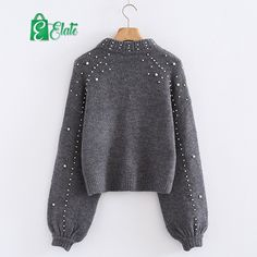 852e68ecea Elatestore Online Shopping · Hoodies  amp  Sweatshirts - Casual Warm Soft Knitted  Sweaters Pearl Beading Jumper Loose Pullover Tops