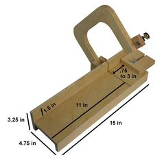 Sophy Craft DIY Wooden Handcrafted Adjustable Single Wire Loaf Soap Cutter Single steel wire tightened with a tuning pin allows for a clean cut Cutter Size: 15 inches long x 4.75 inches wide. Bed is 4.25 inches wide. Adjustable stop produces bar sizes ranging from 0.75 to 3 inches in