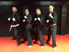 Tim Easy sporting his new gi with Sensei Christina, Shihan Mike and Brown Belt Scotty
