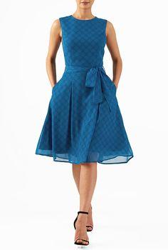 I <3 this Polka dot print georgette sash tie dress from eShakti