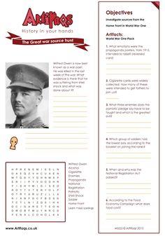 World War I (WW1) Worksheets, Facts