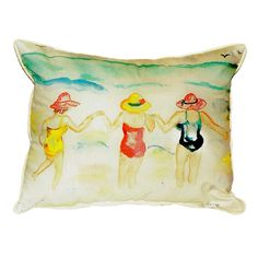 Ladies Wading Extra Large Zippered Indoor or Outdoor Pillow Extra large indoor/outdoor pillows with a zippered cover and a removable polyfill insert. Square pillows measure 22x22 and rectangular pillows measure 20x24.