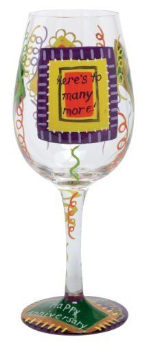 Lolita Love My Wine Glass, Happy Anniversary by Santa Barbara Design Studio Kitchen. $25.00. Holds 15-ounces; wine, wine cocktail or juice, holds even candy- don't limit the possibilities because they are endless..... Hand washing is recommended. Glasses ship in lolita's signature gift box; a distinctive round box with a lid that cushions the glass for storage, as well. Each glass is carefully hand painted; the vibrant colors and embellishments are applied with...