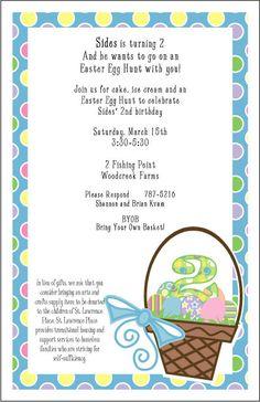 Easter Egg Hunt Invitation Wording Neighborhood parties Pinterest