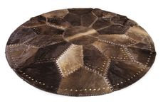 """Round Riveted and Taped Bottom Patchwork Area Rug, Hair-on-Hide, Europe Import, Hand Made, Hand Stitched, 5'3"""" x 5'3"""""""
