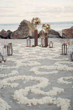 San Diego Garden Inspired Beach Wedding - Home Page Beach Wedding Aisles, Beach Wedding Makeup, Aisle Runner Wedding, Beach Wedding Guests, Beach Wedding Colors, Beach Ceremony, Wedding Lanterns, Outdoor Wedding Decorations, White Wedding Flowers