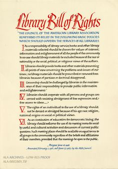 """lakecountylibrary: """" ala-archives: """"Don't forget out your right to read! During Banned Books Week, review the @americanlibraryassoc's Library Bill of Rights! """" For screen readers/mobile users/those..."""