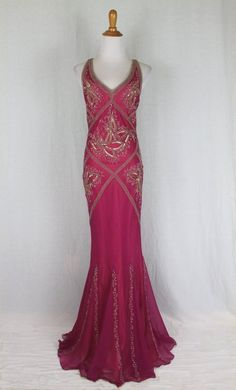ADRIANNA PAPELL Boutique Long Pink Beaded Silk 1920's 1930's Gatsby Deco Gown 6 #AdriannaPapell #BallGownFlapperMaxiSheathBiascutMermaid #Formal