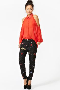 """Beaded Sequin Pants .  Ok to quote Rachel Zoe, """"I die"""" these Mara Hoffman trousers are a must have wish  It's item (the price is a little steep for me, I might have to get a third job to pay for them!)"""