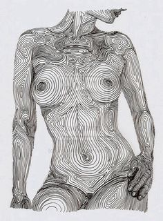 Interesting way of showing the topography of the body, like the linear description of form.