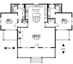 Best Barndominium Floor Plans For Planning Your Barndominium House 2 Bedroom House Plans, Cottage Floor Plans, Cottage Plan, Dream House Plans, Best House Plans, Cottage Homes, 2 Bedroom Apartment Floor Plan, Beach House Floor Plans, 2 Bed House