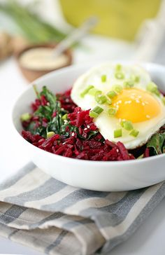 Crunchy Miso Beet Rice with Spinach and Egg |  This dish is perfect for a light lunch or, if you're having it for dinner, add in some edamame beans or quinoa for more protein – you can even leave the egg out and add in some shrimp or chicken. @inspiralized