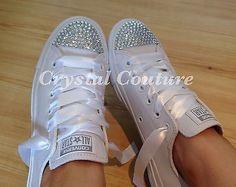 White Leather Converse Mono's Diamante Bling 3 4 5 6 7 8 9 & EU Sizes BNIB