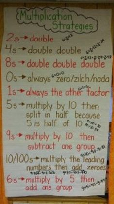 Love this multiplication anchor chart. It has ideas to help students remember certain facts. This is great for students when they are first learning their multiplication facts. Multiplication Anchor Charts, Multiplication Strategies, Math Anchor Charts, Math Strategies, Math Resources, Math Fractions, Division Anchor Chart, Teaching Multiplication Facts, Math Tips