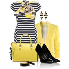 I have a black and white striped dress already!  It's the jacket and classy scarf that really pull this look together.
