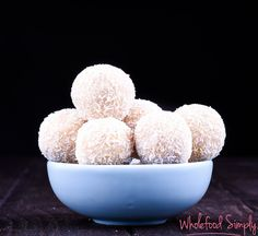 Quick and Easy Lemon Bliss Balls. Free from gluten, grains, dairy, egg, and refined sugar. I hope you enjoy them as much as we do. Lemon Recipes, Delicious Vegan Recipes, Raw Food Recipes, Healthy Recipes, Healthy Foods, Clean Foods, Fodmap Recipes, Protein Recipes, Candy Recipes