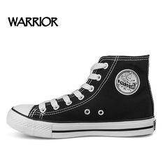 WARRIOR Unisex Classic High Top Men's Canvas Shoes Famou Brand Summer Black White Casual Shoes For Men Hot Sale Size 35-44#T473