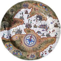 Piri Reis'in Haritası Çinide... #çini #kişiyeözelçini #hediyelikçini #tasarımçini #maviçini #çinitabak #pirireis Ceramic Clay, Ceramic Painting, Porcelain Ceramics, Vintage Nautical, Nautical Art, Piri Reis Map, Deep Art, Glazed Tiles, Decorative Tile