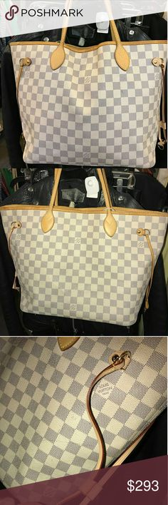 Used LOUIS VUITTON Damier Azur Neverfull MM Tote B Item specifics Condition: Pre-owned: An item that has been used or worn previously. See the seller?s listing for full details and ... Read more Style:Tote Bag Brand: Louis Vuitton Bags Totes
