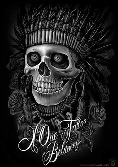 vortrakkerstudio: INDIAN SKULL Done for X-One Tattoo Belitoeng Digital painting on Photoshop 30x42cm