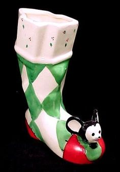 1956 Reliable 5 1/2 in Christmas Sock or Boot. Cute Vintage Holiday Decoration with Mouse peeking out of hole in toe.