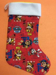 A personal favorite from my Etsy shop https://www.etsy.com/listing/259214297/handmade-christmas-stocking-paw-patrol