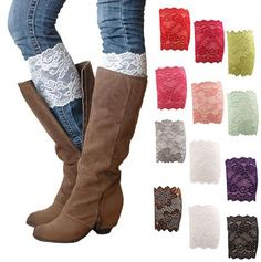 Womens Stretch Lace Boot Leg Cuffs Soft Laced Boot Socks