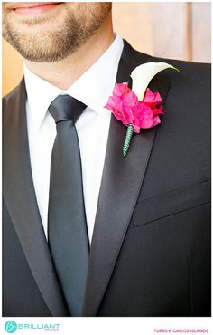 Pink bougainvillea for a groom's boutonniere - Brilliant Studios, Turks and Caicos