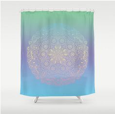 Mandala Shower Curtain Mint Green Purple Blue Boho Bohemian India Indian  Apartment Home Bath Room Decor