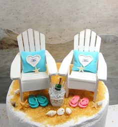 Beach Chairs Beverage for 2 Wedding Cake by Memoriesnminiature