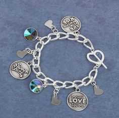 Learn how to make a sweet 'Affirmation' charm bracelet. Feature quote charms, cut out heart charms and delicate Swarovski embellished Rivoli charms. Bracelet Tutorial, Other Accessories, Heart Charm, Affirmations, Swarovski, Delicate, Jewelry Making, Charmed, Beads