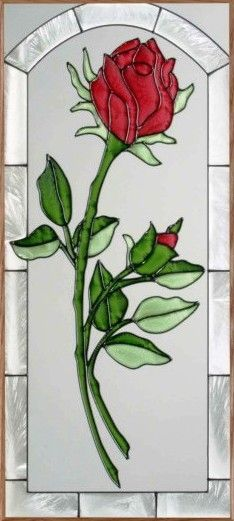 Beauty and the beast rose stained glass window is a must! Stained Glass Quilt, Stained Glass Flowers, Faux Stained Glass, Stained Glass Designs, Stained Glass Panels, Stained Glass Projects, Stained Glass Patterns, Glass Painting Designs, Rose Buds