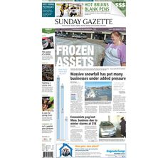The front page of the Taunton Daily Gazette for Sunday, March 15, 2015.