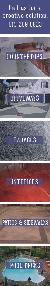 Custom Concrete Interiors Murfreesboro TN 615-289-8823   Creative Concrete