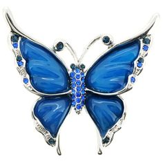 This fashion pin features a beautiful butterfly design accentuated by round-cut crystals in light and dark blue colors. Crafted of silvertone base metal with blue coloring, this jewelry includes an antiqued finish.