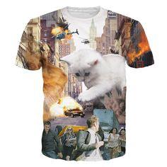 Funny Cats 3D Print T-Shirt 2016 New Men/Women Unisex Tops Fun Casual Clothing Tees - 8 Styles