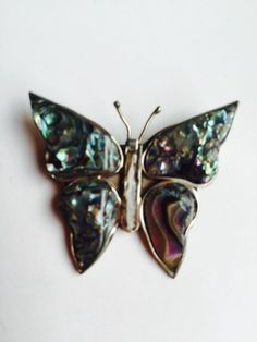 Mother of Pearl Butterfly  Brooch by VintageVixens1 on Etsy