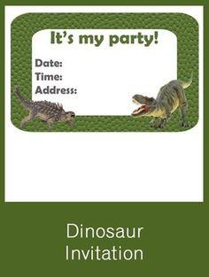 Dinosaur Invitation - FREE PDF Download