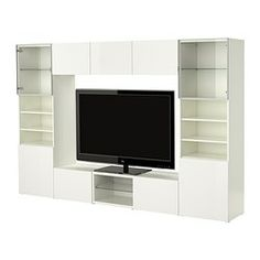 BESTÅ TV storage combination IKEA Adjustable feet for stability on uneven floors. Back panel is inserted in grooves; easy to mount. Tv Cabinet Ikea, White Tv Cabinet, Living Room Storage, My Living Room, Deco Furniture, Ikea Furniture, Tv Stand Best Buy, Ikea Tv Unit, Dressing Room Design