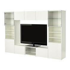 BESTÅ TV storage combination, high-gloss white, white Width: 300 cm Depth: 40 cm Height: 192 cm