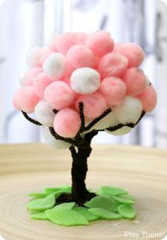 Pompom spring tree craft - acraftylife.com #crafts #kidscraft #craftsforkids
