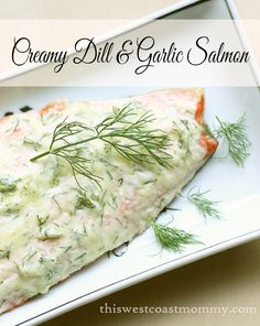 This creamy dill & garlic salmon recipe is surprisingly easy to make! Moist, flaky, and flavourful, this is gluten-free, dairy-free, paleo, and Whole30 compliant.