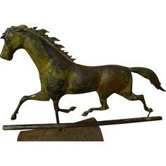 American 19th century folk art galloping horse weather vane @rubylanecom #FolkArt #rubylane