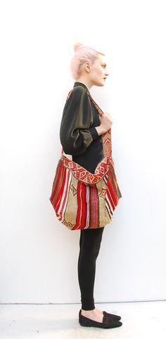 70s Boho Bag - Hobo Bag Large - Hand Woven Ethnic Bag - Peruvian Bag - Tribal Bag - Slouchy Bag - Cross Body Bag - Wool Bag. $46.00, via Etsy.