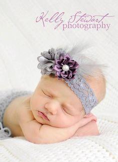 Newborn photography. Baby photos. Grey and plum Elastic Headband with Feathers #featherheadband #babyheadband #newbornphoto #babyphotography