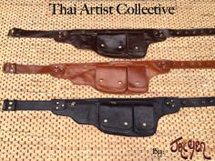 Leather Utility Belt Bag -The Explorer -Hip pockets,Passport Travel, iphone wallet,Steampunk,Fanny Pack, Burning Man,Festival